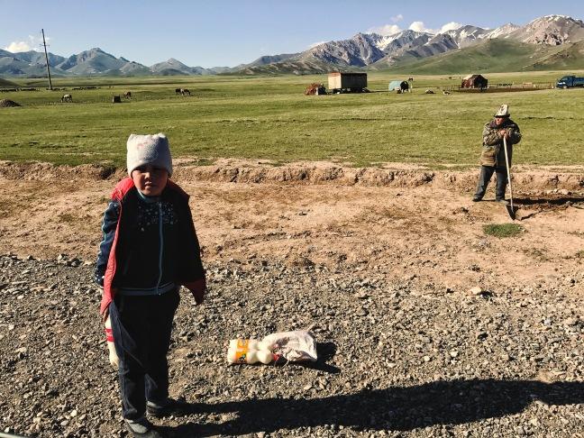kyrgyz girl with horse milk